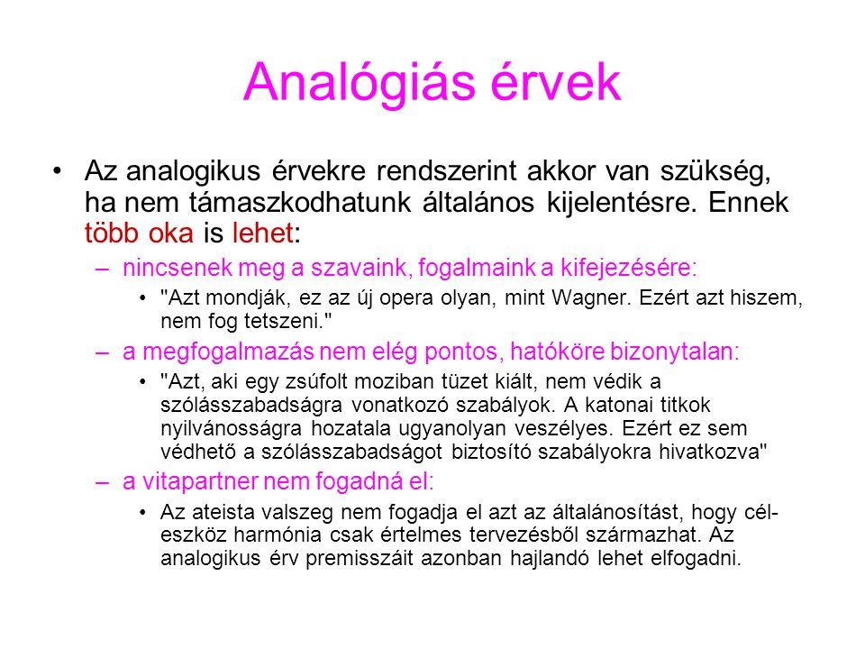 Analógiás érvek Az analogikus érvekre rendszerint akkor van szükség, ha nem támaszkodhatunk általános kijelentésre. Ennek több oka is lehet: –nincsene