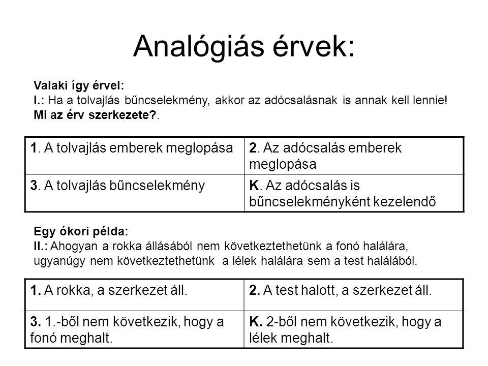 Analógiás érvek: 1.A tolvajlás emberek meglopása2.