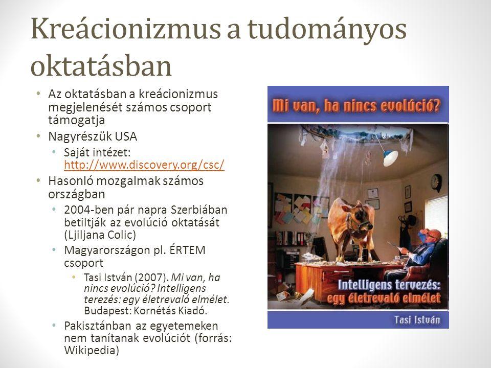 Kreácionizmus a tudományos oktatásban Az oktatásban a kreácionizmus megjelenését számos csoport támogatja Nagyrészük USA Saját intézet: http://www.discovery.org/csc/ http://www.discovery.org/csc/ Hasonló mozgalmak számos országban 2004-ben pár napra Szerbiában betiltják az evolúció oktatását (Ljiljana Colic) Magyarországon pl.