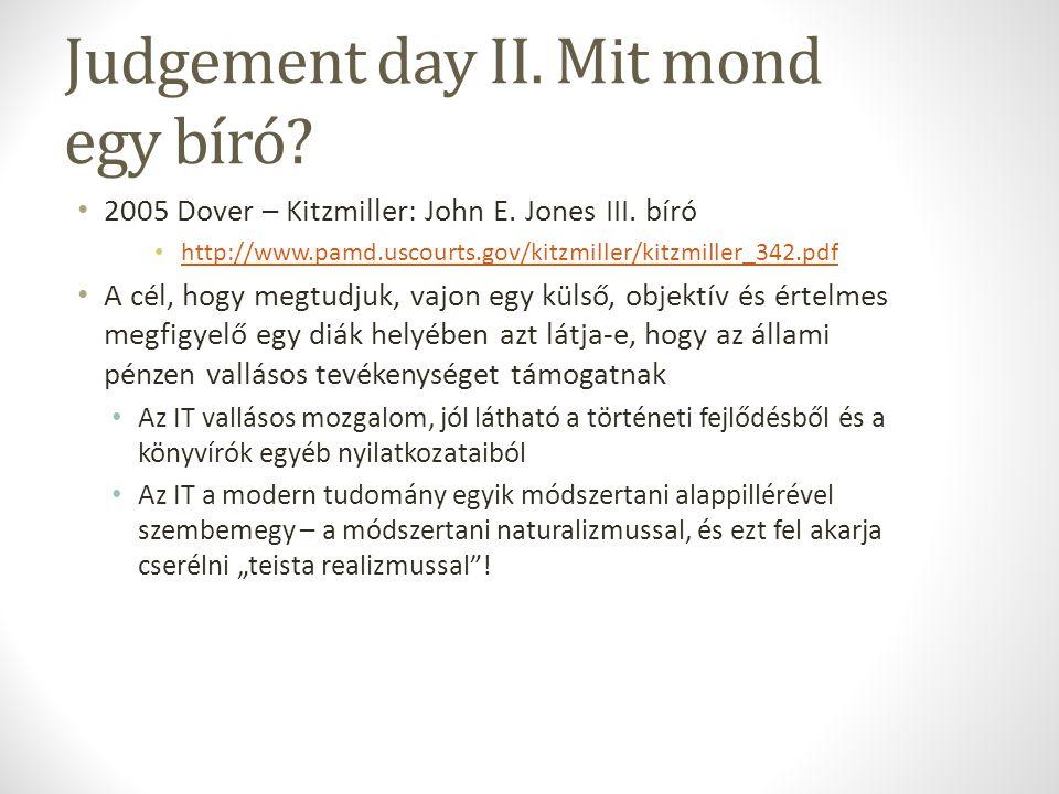 Judgement day II.Mit mond egy bíró. 2005 Dover – Kitzmiller: John E.