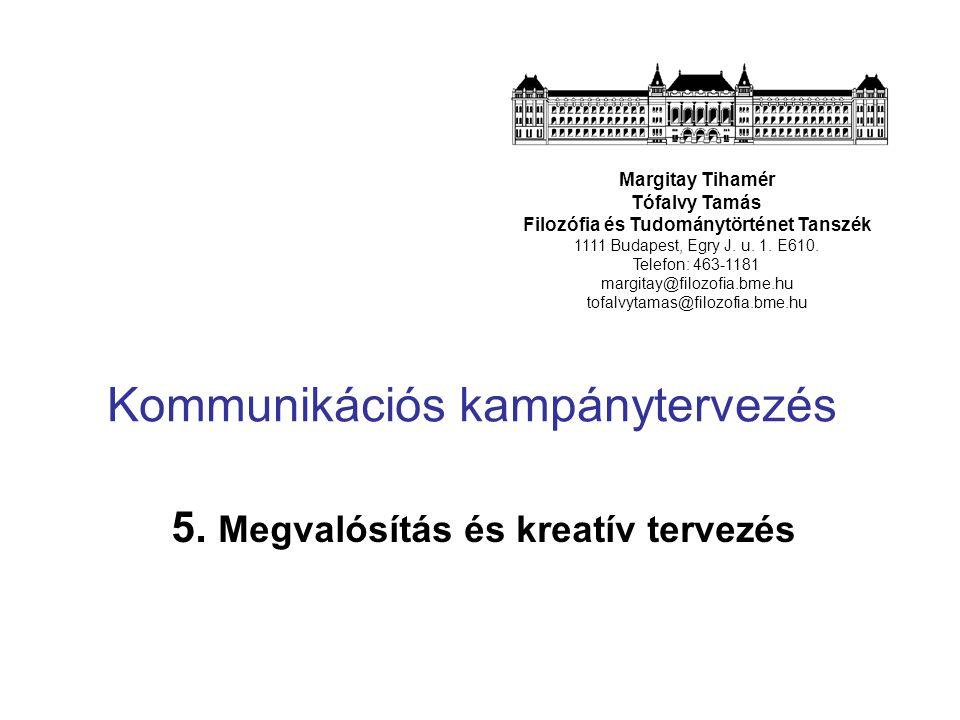 Kommunikációs kampánytervezés 5. Megvalósítás és kreatív tervezés Margitay Tihamér Tófalvy Tamás Filozófia és Tudománytörténet Tanszék 1111 Budapest,