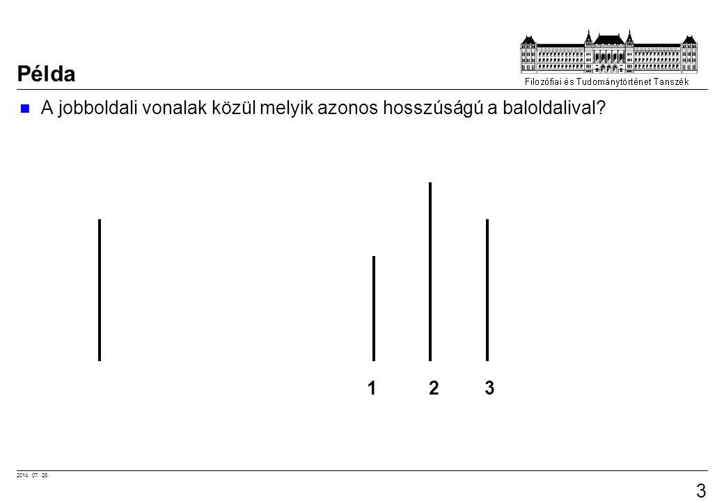 2014. 07. 28. 3 Példa A jobboldali vonalak közül melyik azonos hosszúságú a baloldalival? 1 2 3