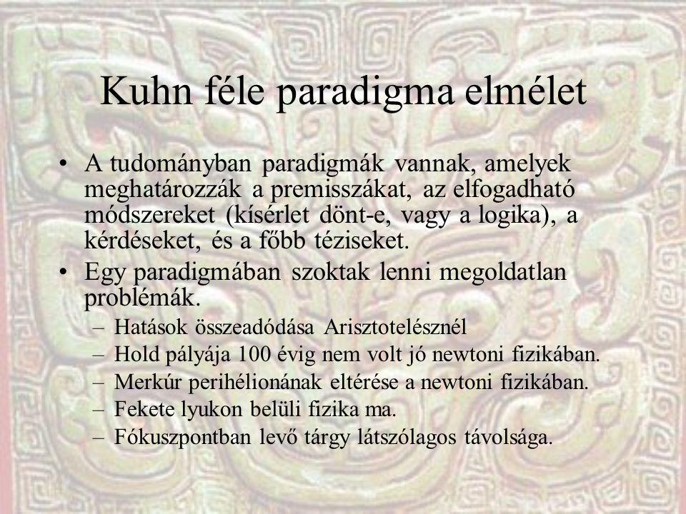 Kuhn féle paradigma elmélet A tudományban paradigmák vannak, amelyek meghatározzák a premisszákat, az elfogadható módszereket (kísérlet dönt-e, vagy a