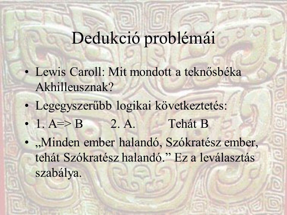 """Dedukció problémái Lewis Caroll: Mit mondott a teknősbéka Akhilleusznak? Legegyszerűbb logikai következtetés: 1. A=> B2. A.Tehát B """"Minden ember halan"""