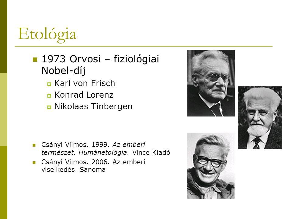 Etológia 1973 Orvosi – fiziológiai Nobel-díj  Karl von Frisch  Konrad Lorenz  Nikolaas Tinbergen Csányi Vilmos. 1999. Az emberi természet. Humáneto