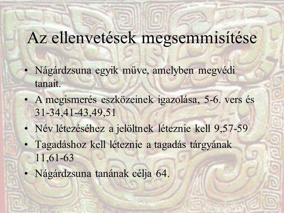 Az ellenvetések megsemmisítése Nágárdzsuna egyik műve, amelyben megvédi tanait. A megismerés eszközeinek igazolása, 5-6. vers és 31-34,41-43,49,51 Név