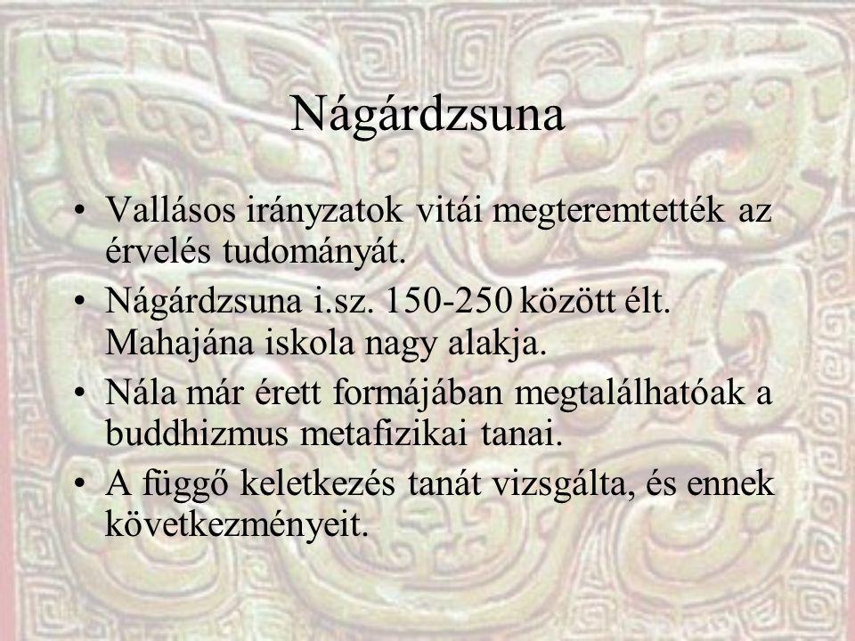 Nágárdzsuna Vallásos irányzatok vitái megteremtették az érvelés tudományát. Nágárdzsuna i.sz. 150-250 között élt. Mahajána iskola nagy alakja. Nála má