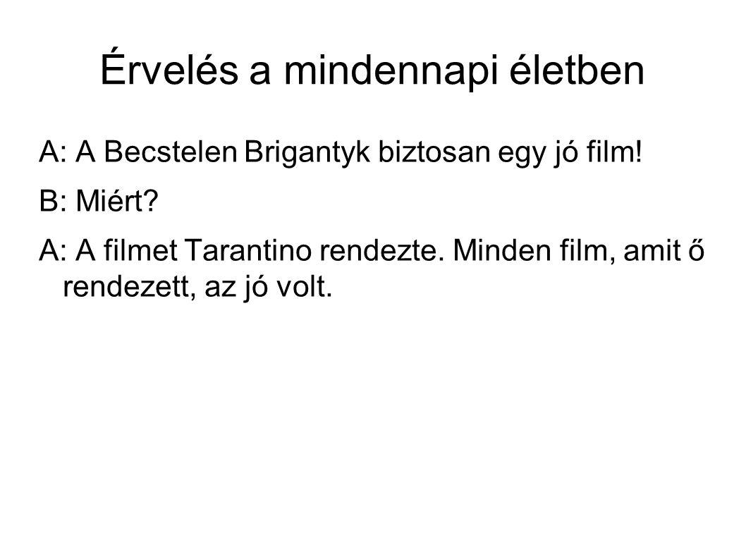 Érvelés a mindennapi életben A: A Becstelen Brigantyk biztosan egy jó film.