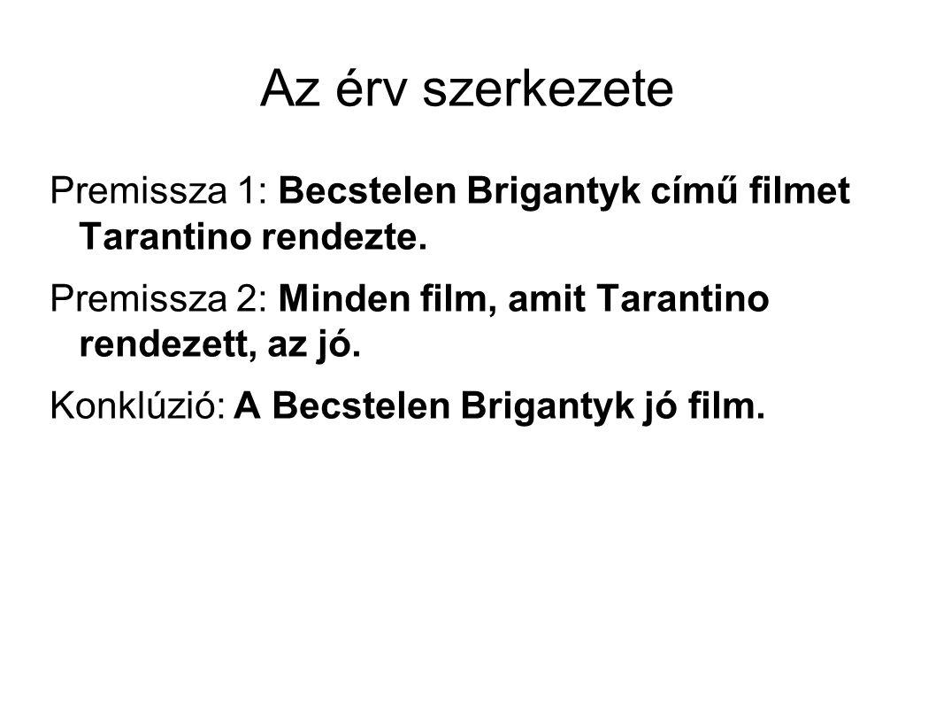 Az érv szerkezete Premissza 1: Becstelen Brigantyk című filmet Tarantino rendezte.