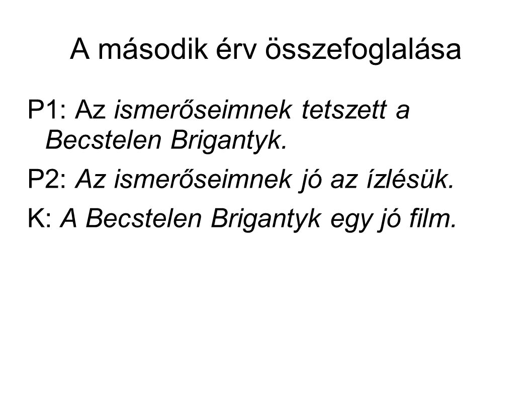 A második érv összefoglalása P1: Az ismerőseimnek tetszett a Becstelen Brigantyk.