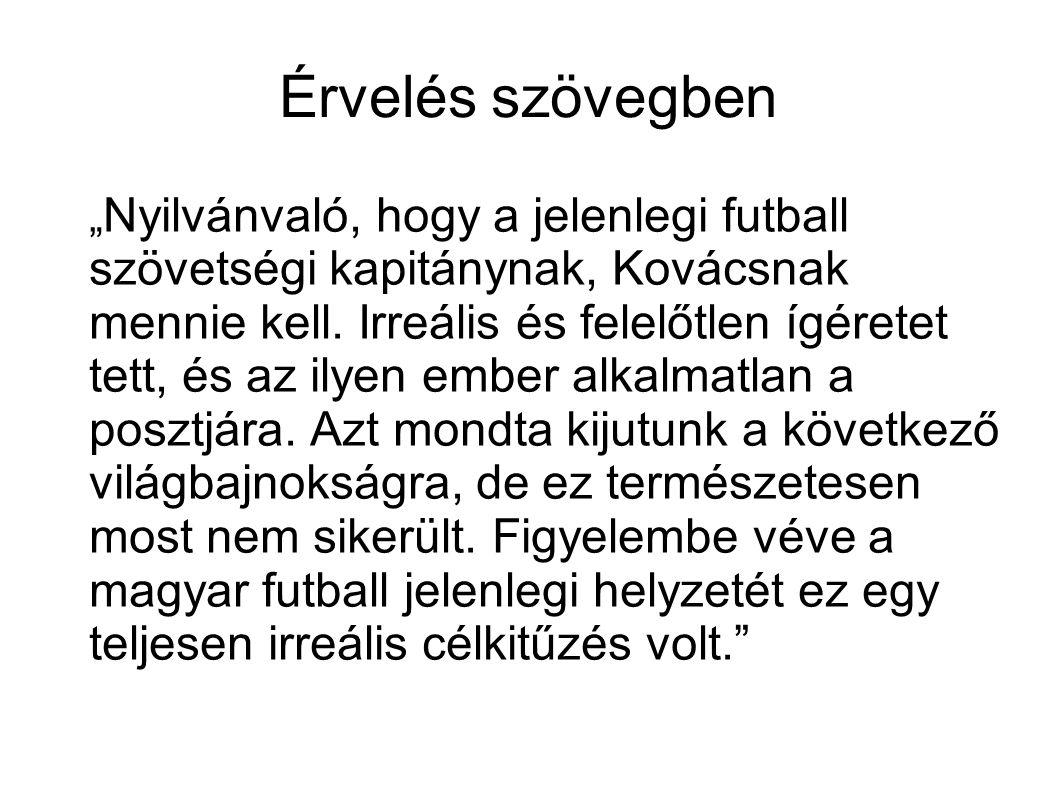 """Érvelés szövegben """" Nyilvánvaló, hogy a jelenlegi futball szövetségi kapitánynak, Kovácsnak mennie kell."""