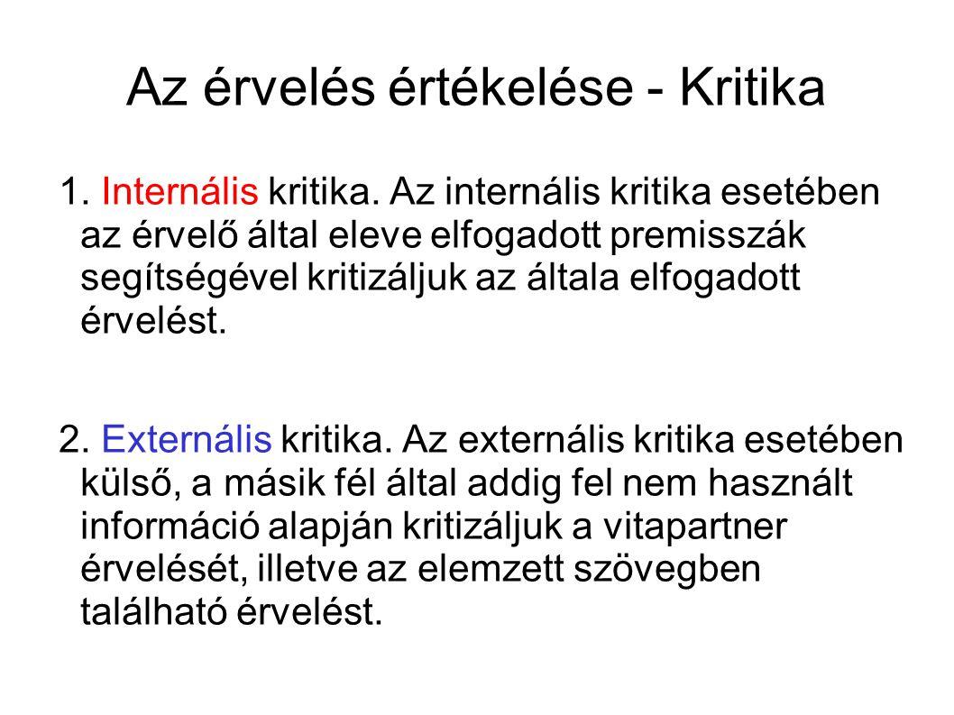 Az érvelés értékelése - Kritika 1. Internális kritika.