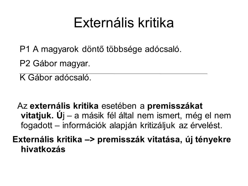 Externális kritika P1 A magyarok döntő többsége adócsaló.