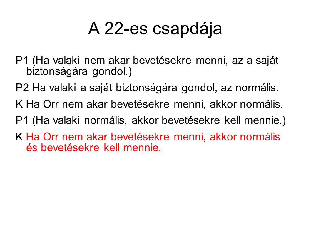 A 22-es csapdája P1 (Ha valaki nem akar bevetésekre menni, az a saját biztonságára gondol.) P2 Ha valaki a saját biztonságára gondol, az normális.
