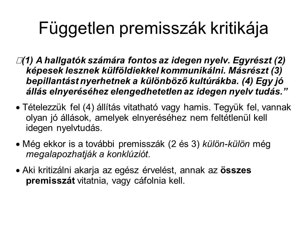 """Független premisszák kritikája """"(1)  A hallgatók számára fontos az idegen nyelv."""
