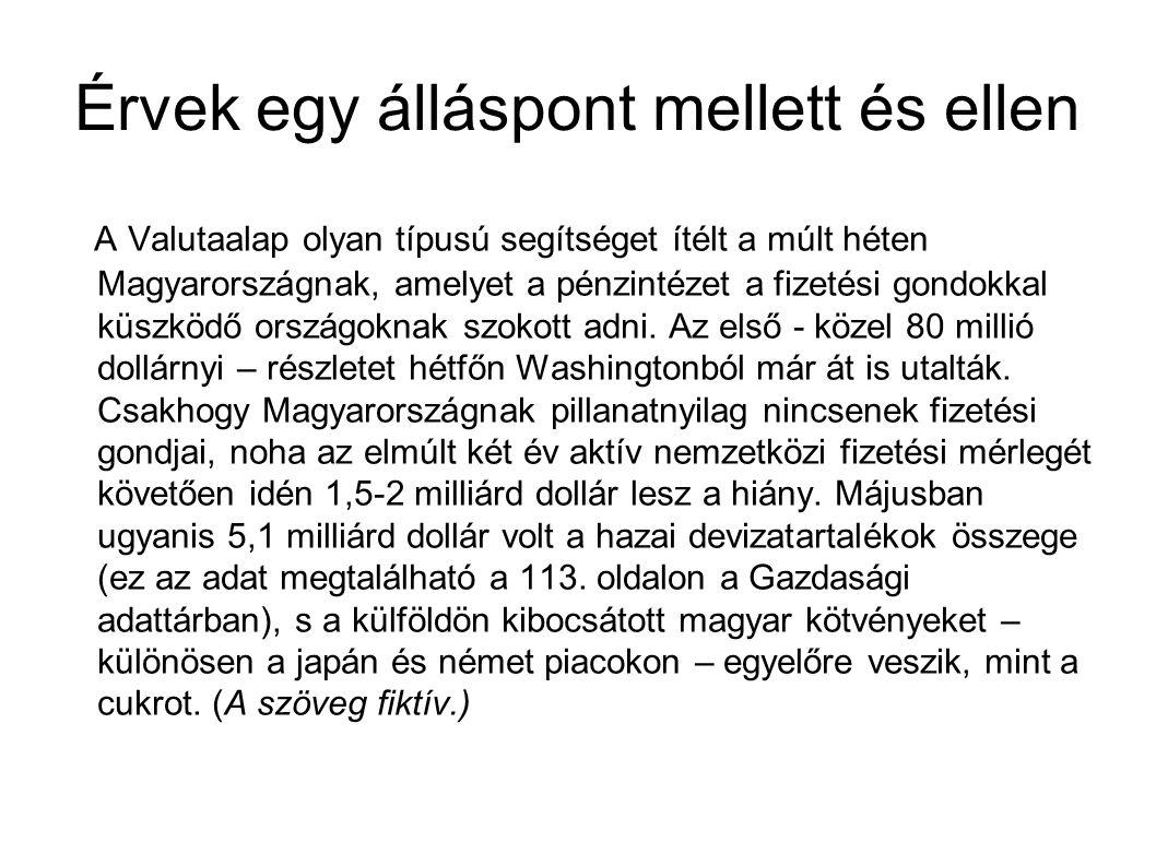 Érvek egy álláspont mellett és ellen A Valutaalap olyan típusú segítséget ítélt a múlt héten Magyarországnak, amelyet a pénzintézet a fizetési gondokkal küszködő országoknak szokott adni.