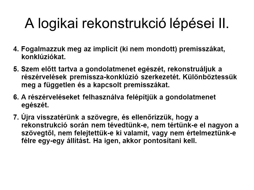 A logikai rekonstrukció lépései II. 4.