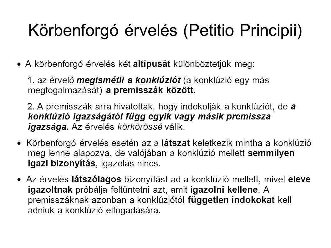 Körbenforgó érvelés (Petitio Principii)  A körbenforgó érvelés két altípusát különböztetjük meg: 1.