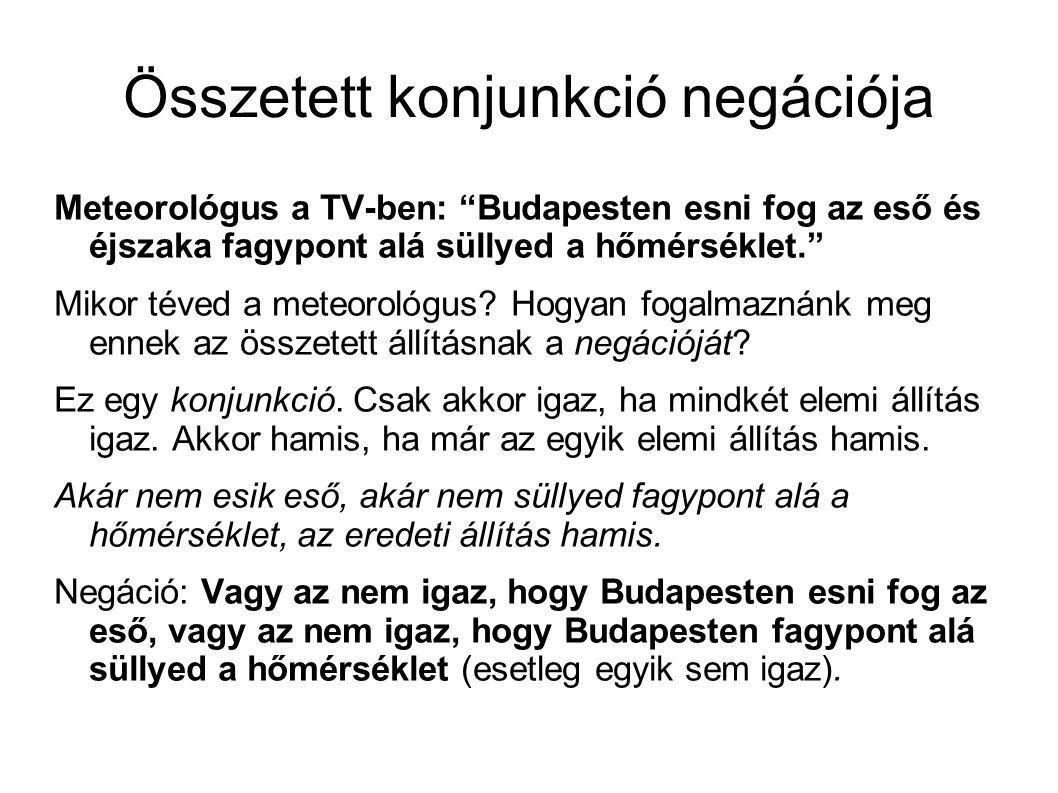 Összetett konjunkció negációja Meteorológus a TV-ben: Budapesten esni fog az eső és éjszaka fagypont alá süllyed a hőmérséklet. Mikor téved a meteorológus.