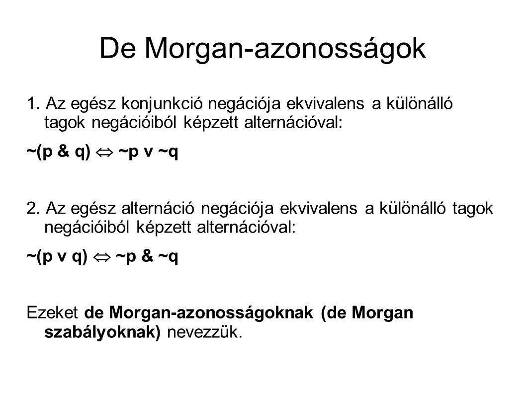 De Morgan-azonosságok 1.