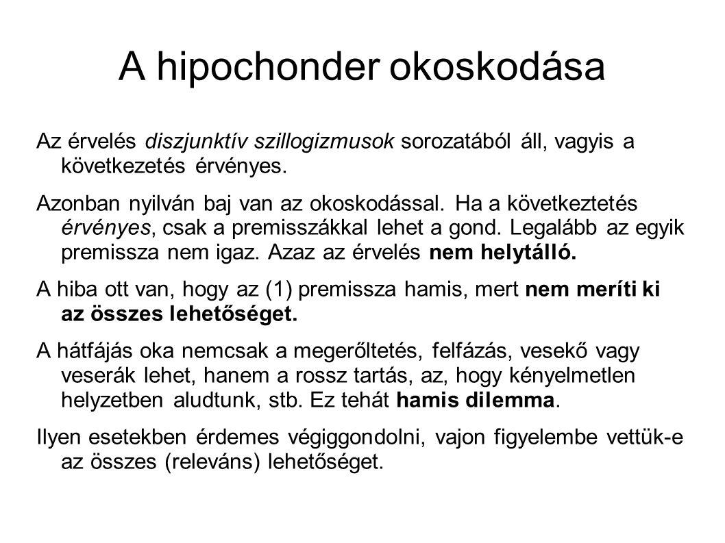 A hipochonder okoskodása Az érvelés diszjunktív szillogizmusok sorozatából áll, vagyis a következetés érvényes.