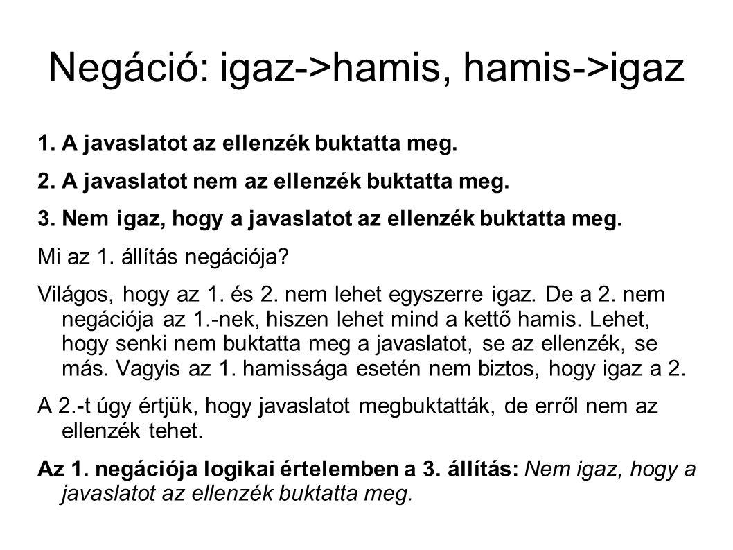 Hamis dilemma Jellemzően a hamis dilemmák hiányos következtetések, sok esetben csak az alternációt mondják ki, a konklúziót és a hiányzó premisszá(ka)t nem.
