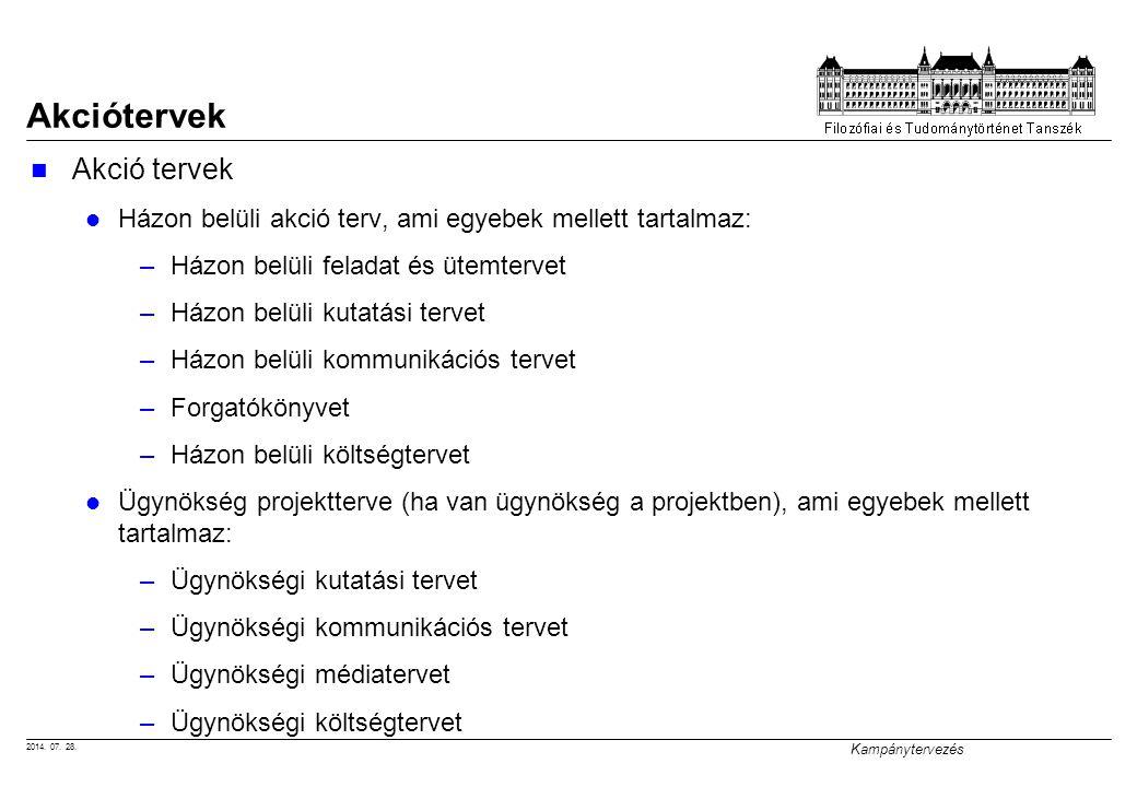 2014. 07. 28. Kampánytervezés Akciótervek Házon belüli akció terv, ami egyebek mellett tartalmaz: –Házon belüli feladat és ütemtervet –Házon belüli ku