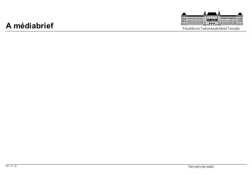 2014. 07. 28. Kampánytervezés A médiabrief