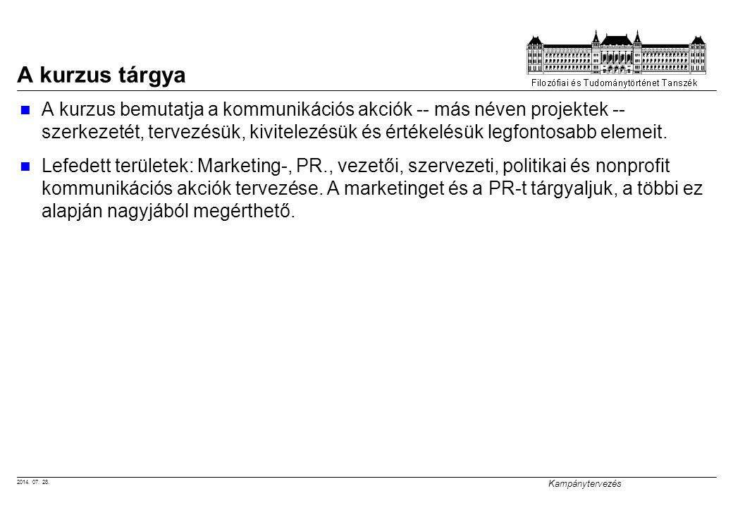 2014. 07. 28. Kampánytervezés A kurzus tárgya A kurzus bemutatja a kommunikációs akciók -- más néven projektek -- szerkezetét, tervezésük, kivitelezés