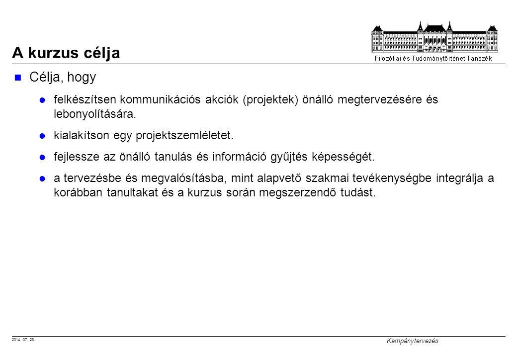 2014. 07. 28. Kampánytervezés A kurzus célja Célja, hogy felkészítsen kommunikációs akciók (projektek) önálló megtervezésére és lebonyolítására. kiala