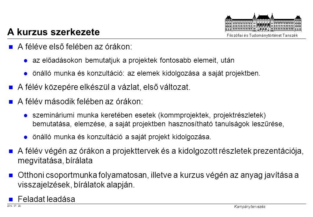 2014. 07. 28. Kampánytervezés A kurzus szerkezete A féléve első felében az órákon: az előadásokon bemutatjuk a projektek fontosabb elemeit, után önáll