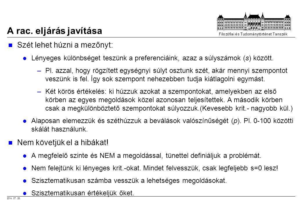 2014. 07. 28. A rac. eljárás javítása Szét lehet húzni a mezőnyt: Lényeges különbséget teszünk a preferenciáink, azaz a súlyszámok (s) között. –Pl. az