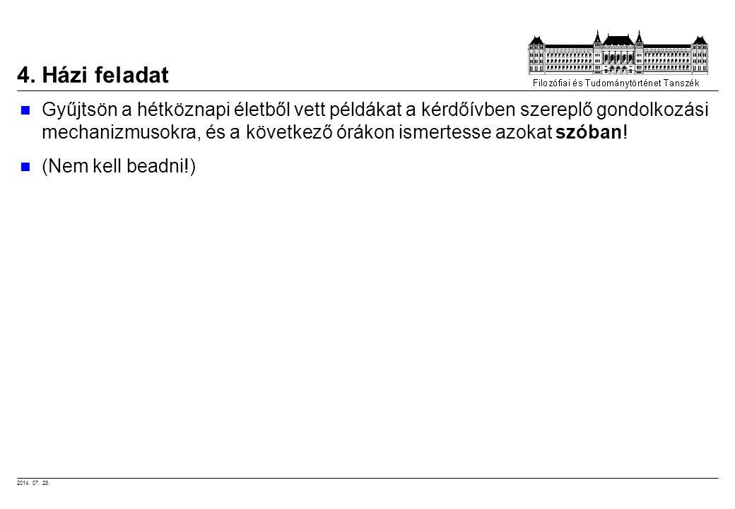 2014. 07. 28. 4. Házi feladat Gyűjtsön a hétköznapi életből vett példákat a kérdőívben szereplő gondolkozási mechanizmusokra, és a következő órákon is
