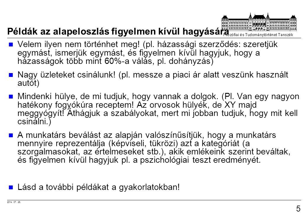 2014. 07. 28. 55 Példák az alapeloszlás figyelmen kívül hagyására Velem ilyen nem történhet meg! (pl. házassági szerződés: szeretjük egymást, ismerjük