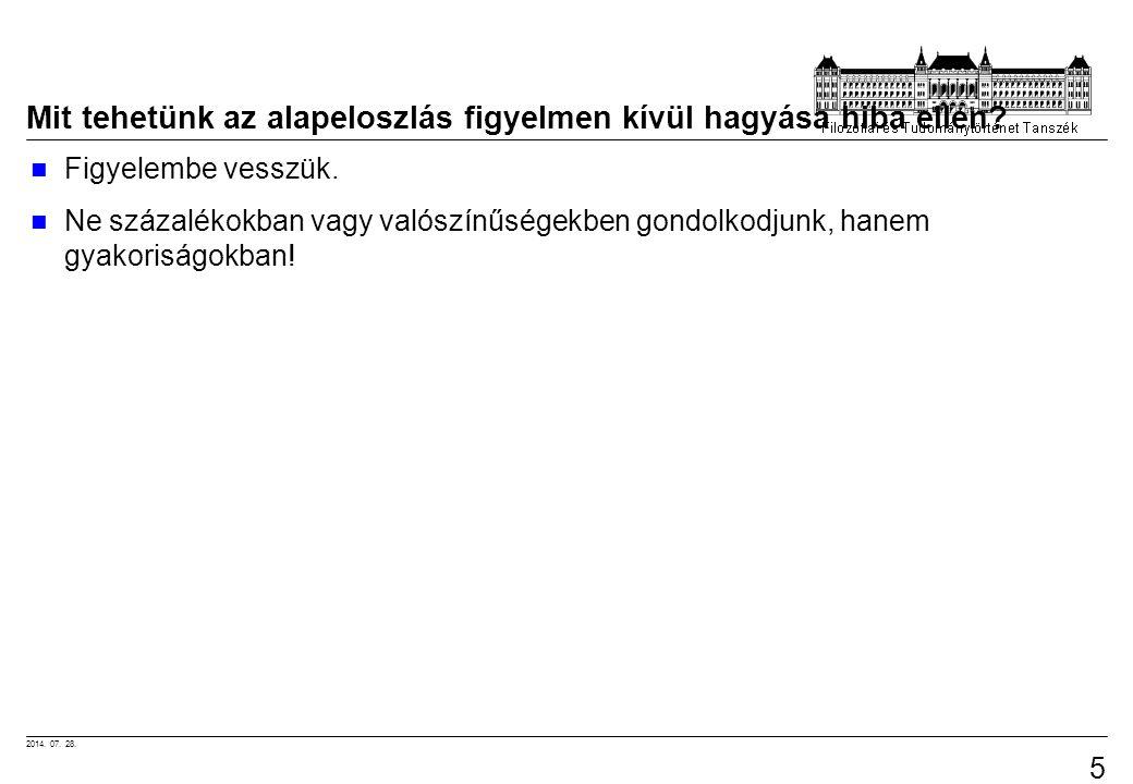 2014.07. 28. 57 Mit tehetünk az alapeloszlás figyelmen kívül hagyása hiba ellen.