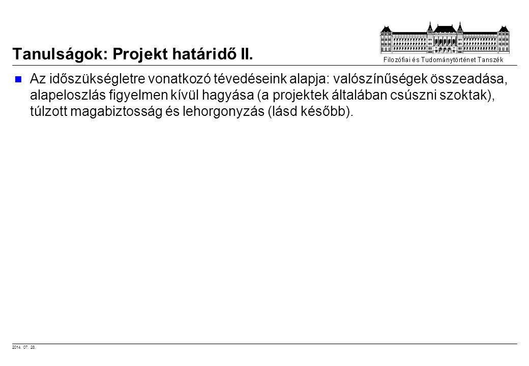 2014. 07. 28. Tanulságok: Projekt határidő II. Az időszükségletre vonatkozó tévedéseink alapja: valószínűségek összeadása, alapeloszlás figyelmen kívü