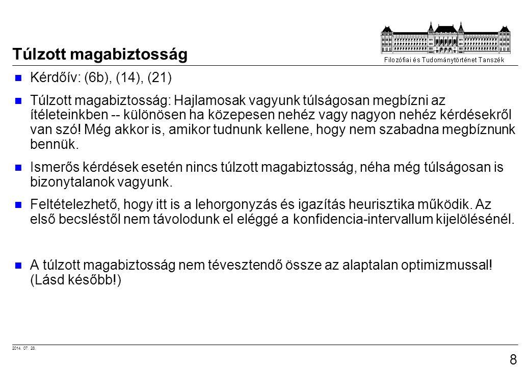 2014. 07. 28. 84 Túlzott magabiztosság Kérdőív: (6b), (14), (21) Túlzott magabiztosság: Hajlamosak vagyunk túlságosan megbízni az ítéleteinkben -- kül