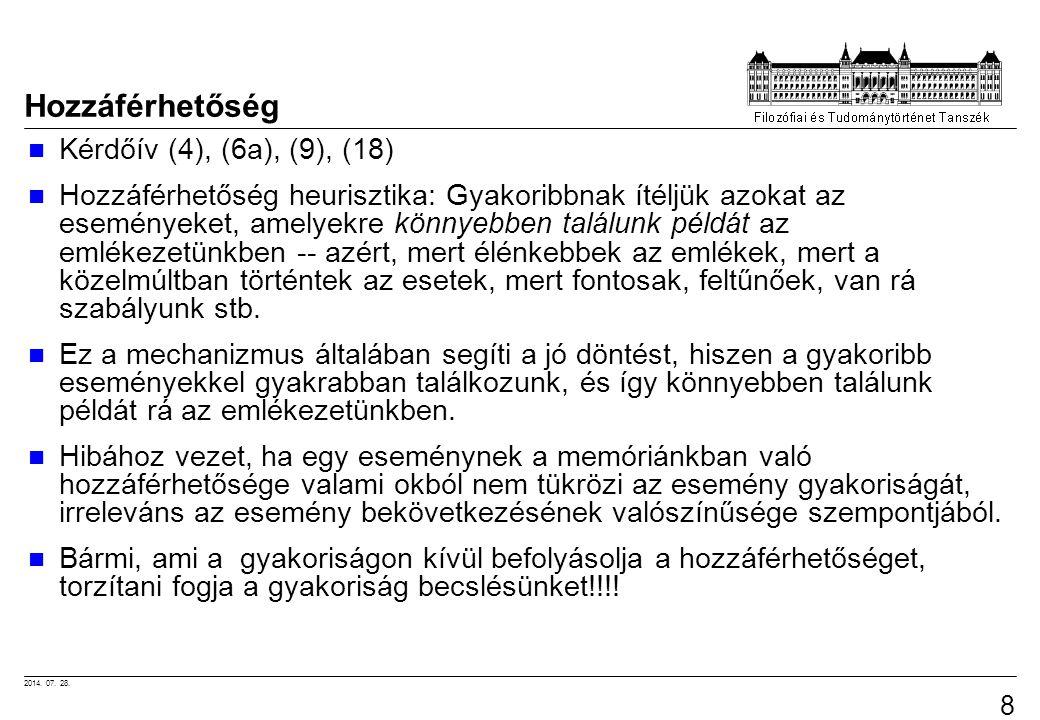 2014. 07. 28. 89 Hozzáférhetőség Kérdőív (4), (6a), (9), (18) Hozzáférhetőség heurisztika: Gyakoribbnak ítéljük azokat az eseményeket, amelyekre könny