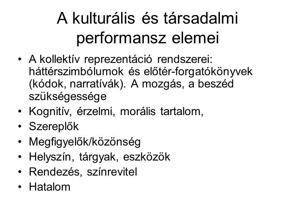 A kulturális és társadalmi performansz elemei A kollektív reprezentáció rendszerei: háttérszimbólumok és előtér-forgatókönyvek (kódok, narratívák).