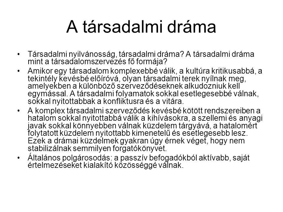 A társadalmi dráma Társadalmi nyilvánosság, társadalmi dráma.