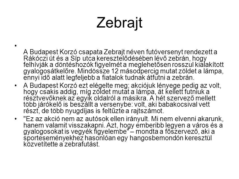 Zebrajt A Budapest Korzó csapata Zebrajt néven futóversenyt rendezett a Rákóczi út és a Síp utca keresztelődésében lévő zebrán, hogy felhívják a döntéshozók figyelmét a meglehetősen rosszul kialakított gyalogosátkelőre.