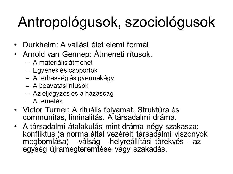 Antropológusok, szociológusok Durkheim: A vallási élet elemi formái Arnold van Gennep: Átmeneti rítusok. –A materiális átmenet –Egyének és csoportok –