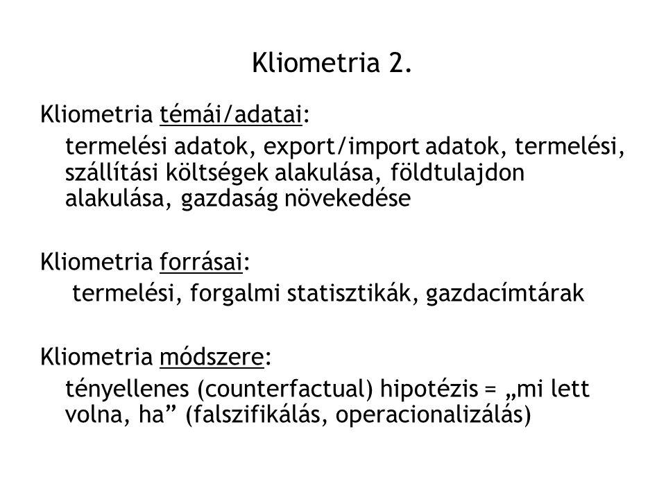 Kliometria 2. Kliometria témái/adatai: termelési adatok, export/import adatok, termelési, szállítási költségek alakulása, földtulajdon alakulása, gazd