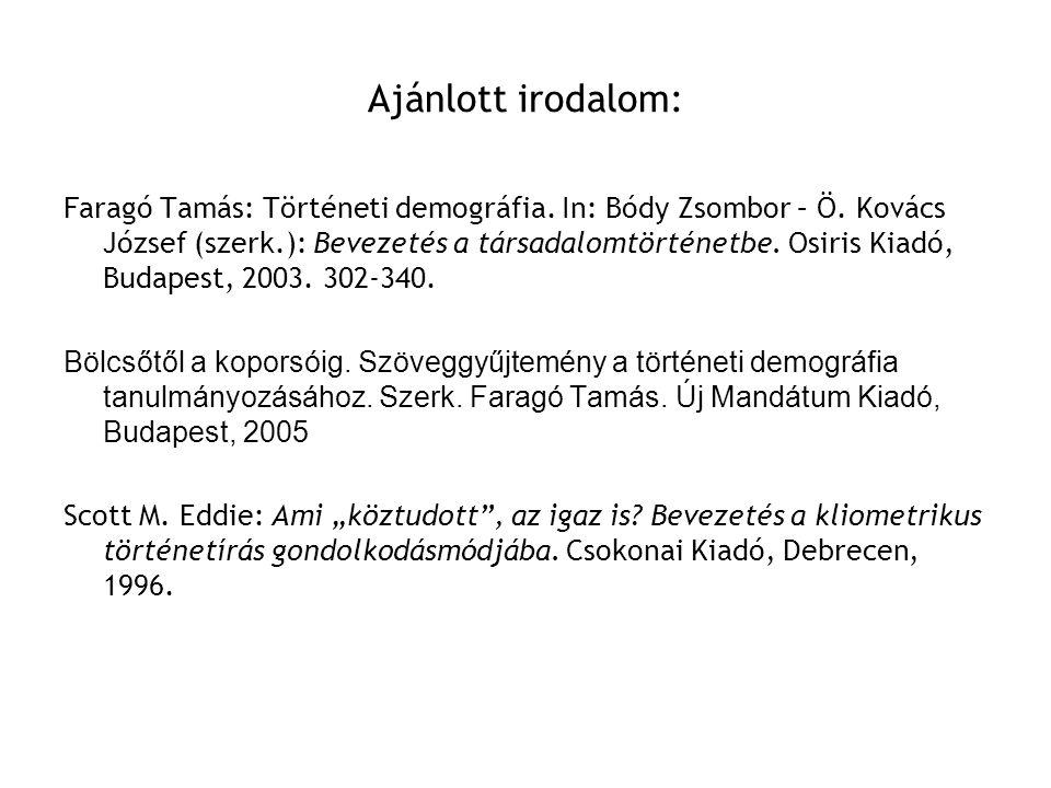 Ajánlott irodalom: Faragó Tamás: Történeti demográfia. In: Bódy Zsombor – Ö. Kovács József (szerk.): Bevezetés a társadalomtörténetbe. Osiris Kiadó, B