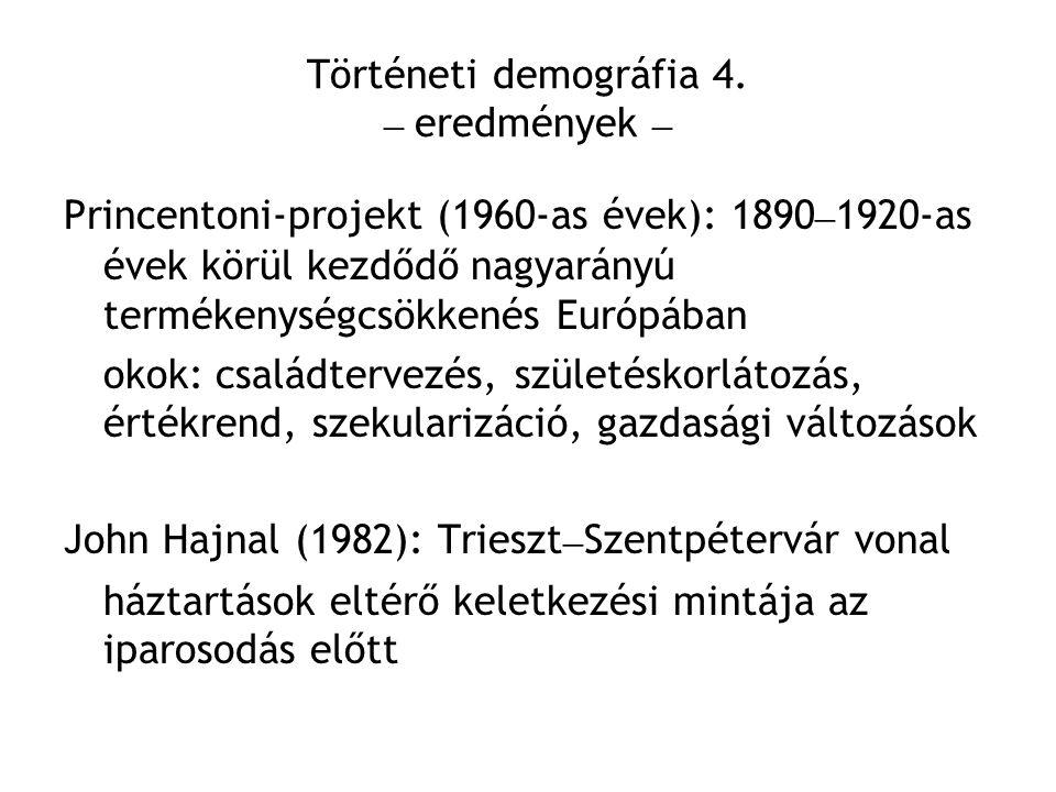 Történeti demográfia 4. – eredmények – Princentoni-projekt (1960-as évek): 1890 – 1920-as évek körül kezdődő nagyarányú termékenységcsökkenés Európába