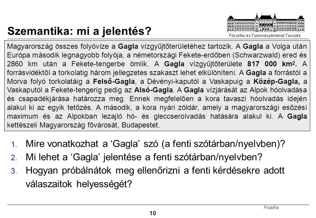 Filozófia 10 Szemantika: mi a jelentés.1.