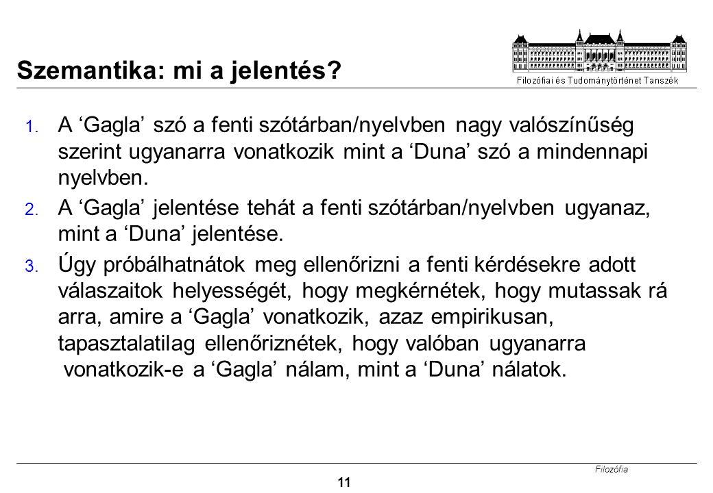 Filozófia 11 Szemantika: mi a jelentés.1.
