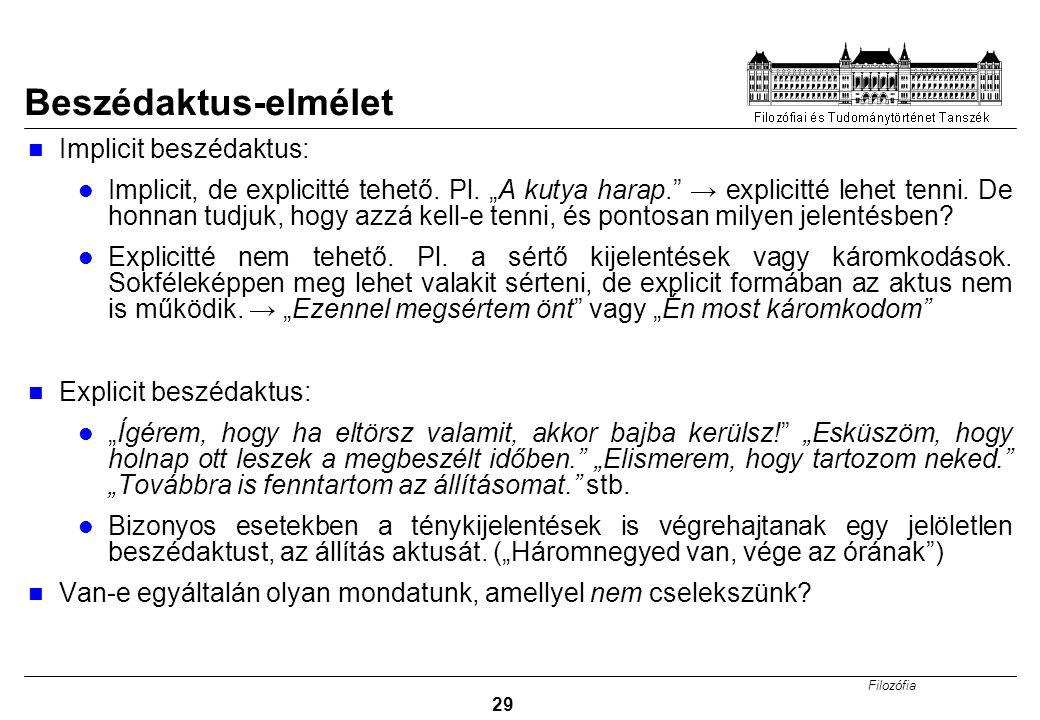 Filozófia 29 Beszédaktus-elmélet Implicit beszédaktus: Implicit, de explicitté tehető.