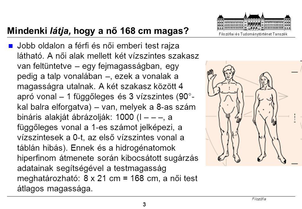 Filozófia 3 Mindenki látja, hogy a nő 168 cm magas.