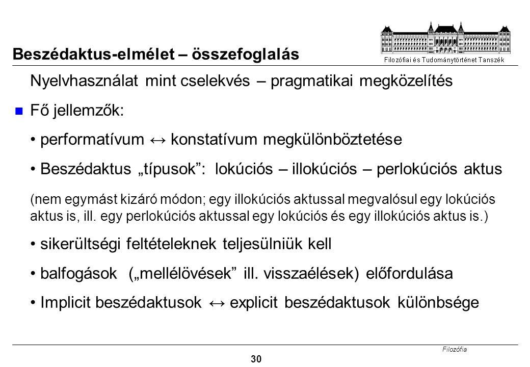 """Filozófia 30 Beszédaktus-elmélet – összefoglalás Nyelvhasználat mint cselekvés – pragmatikai megközelítés Fő jellemzők: performatívum ↔ konstatívum megkülönböztetése Beszédaktus """"típusok : lokúciós – illokúciós – perlokúciós aktus (nem egymást kizáró módon; egy illokúciós aktussal megvalósul egy lokúciós aktus is, ill."""